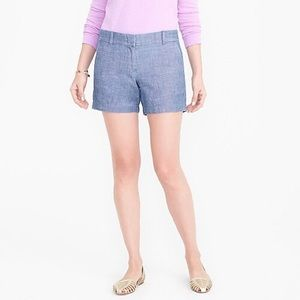 "J Crew Cotton Chambray 5"" Shorts Size 00 Blue"